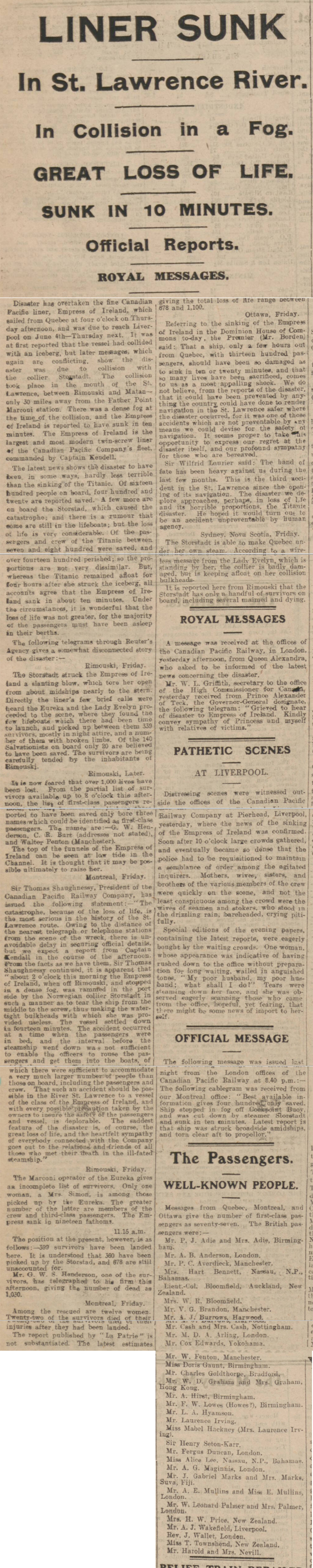 historical newspaper story about the sinking of the empress of ireland