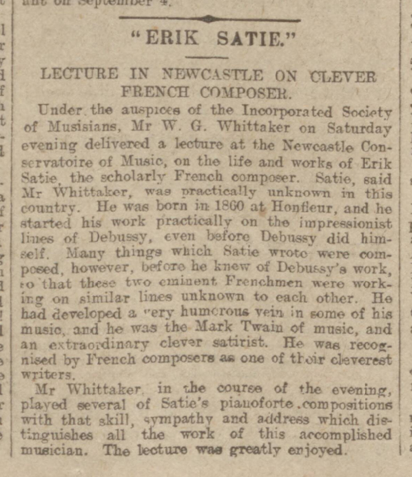 historical newspaper story about erik satie