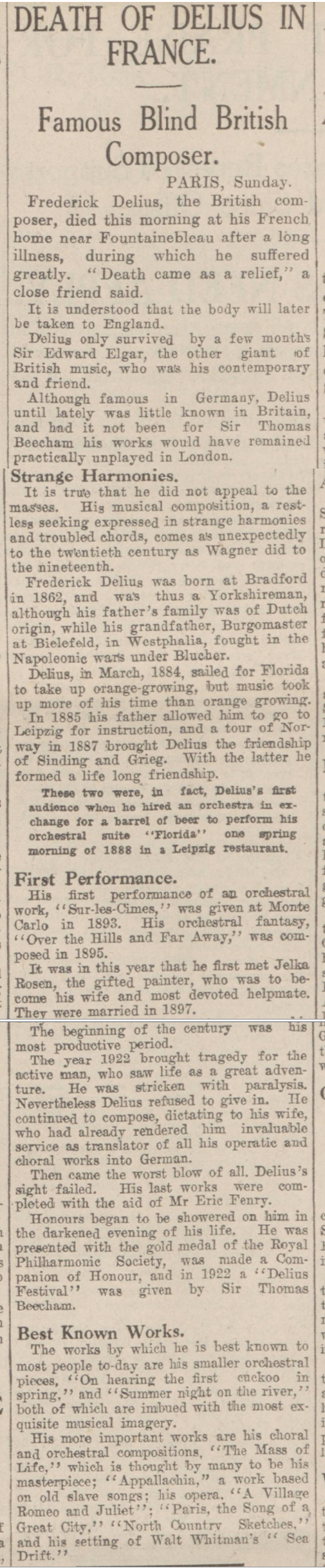 historical newspaper report about the death of frederick delius