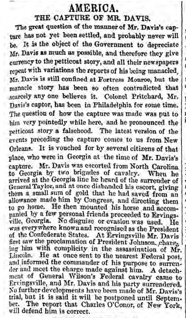 historical newspaper story about jefferson davis
