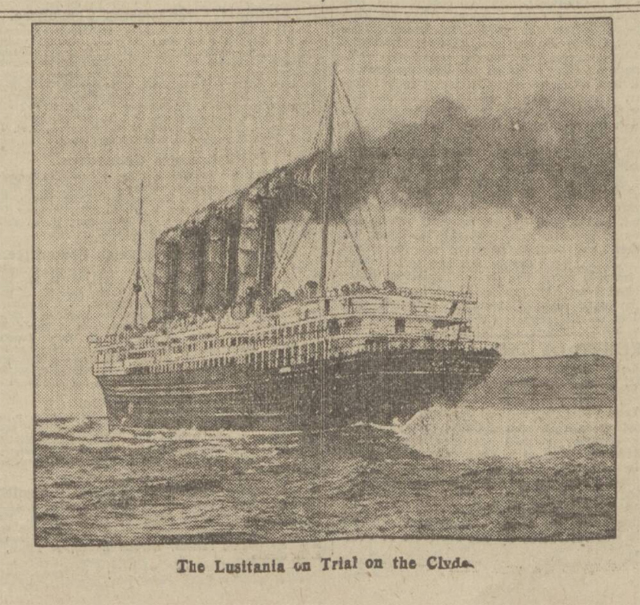 historical newspaper story about rms lusitania