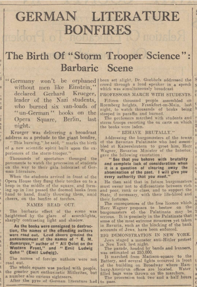 historical newspaper story about nazi book burnings