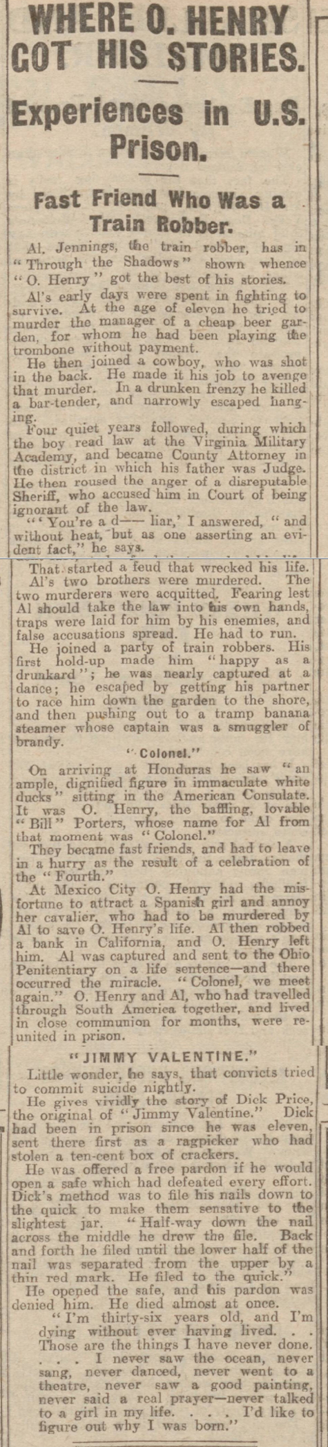 historical newspaper report about O. Henry