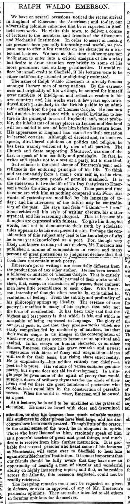 historical newspaper story about Ralph Waldo Emerson