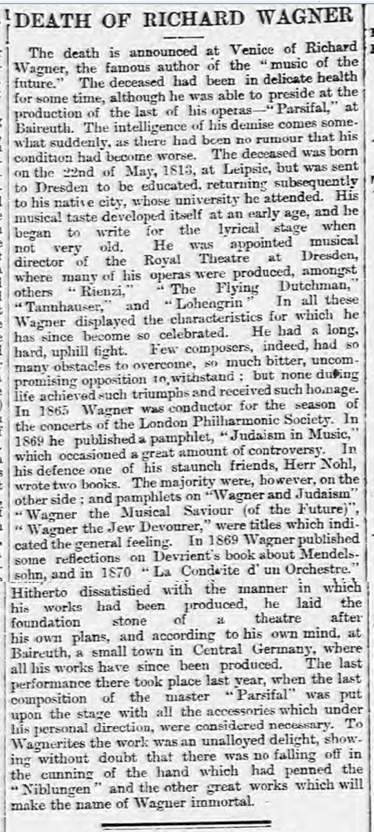 historical newspaper story about richard wagner