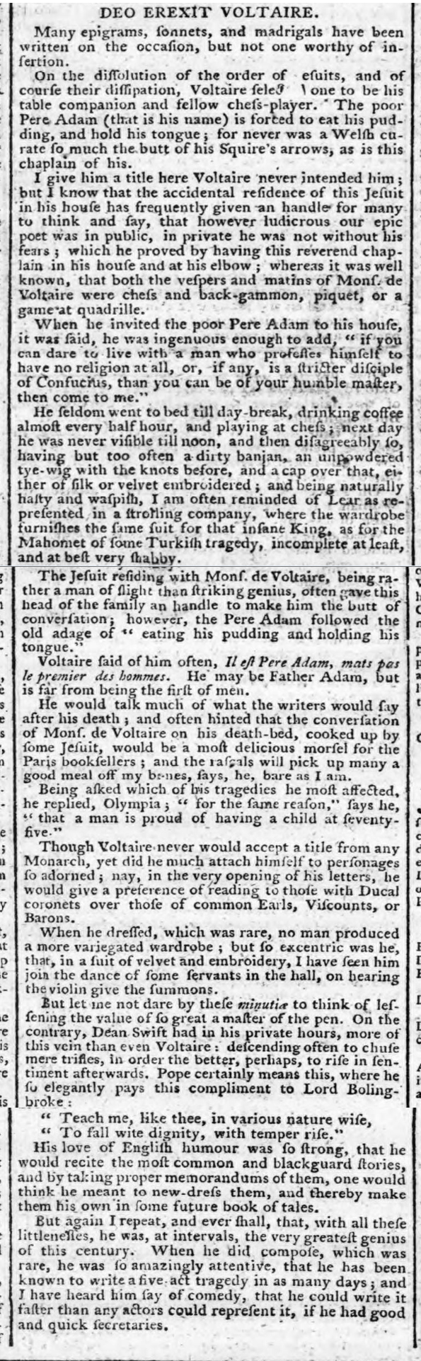 historical newspaper story about the death of Voltaire