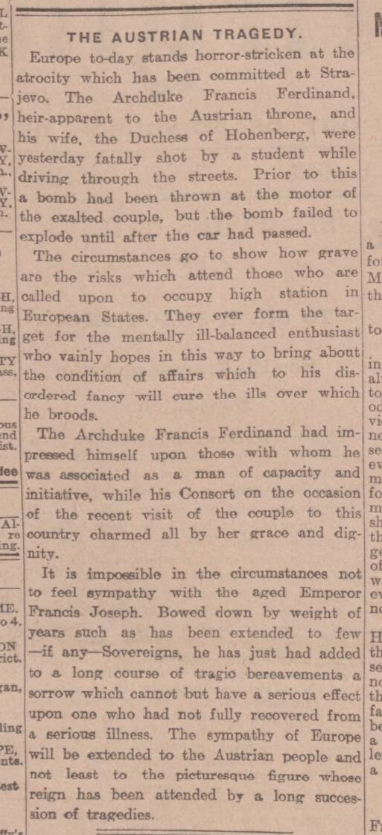 historical newspaper report about the assassination of archduke