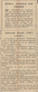 Historical newspaper report about the start of Operation Barbarossa