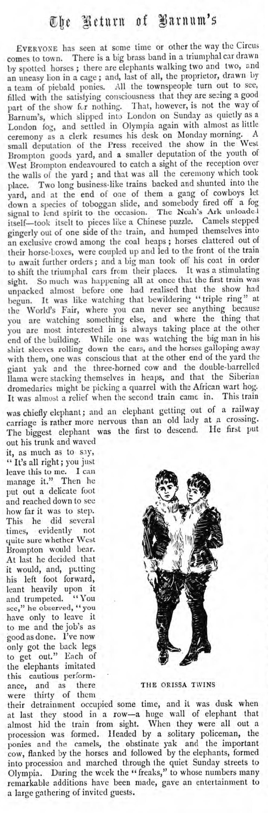 historical newspaper report about barnum