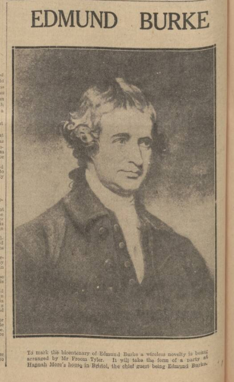historical newspaper report about the death of edmund burke