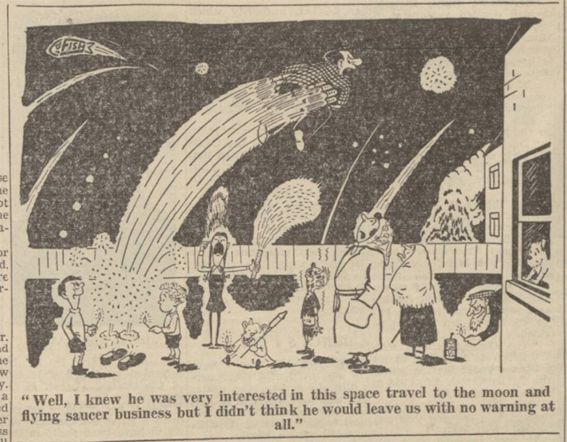 historical newspaper report about flying saucers