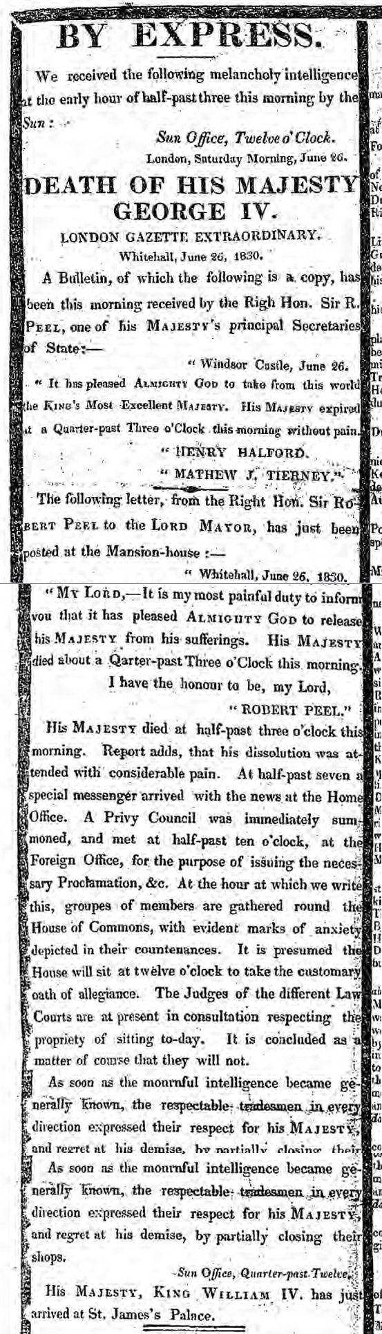 historical newspaper report about The Death of King George IV
