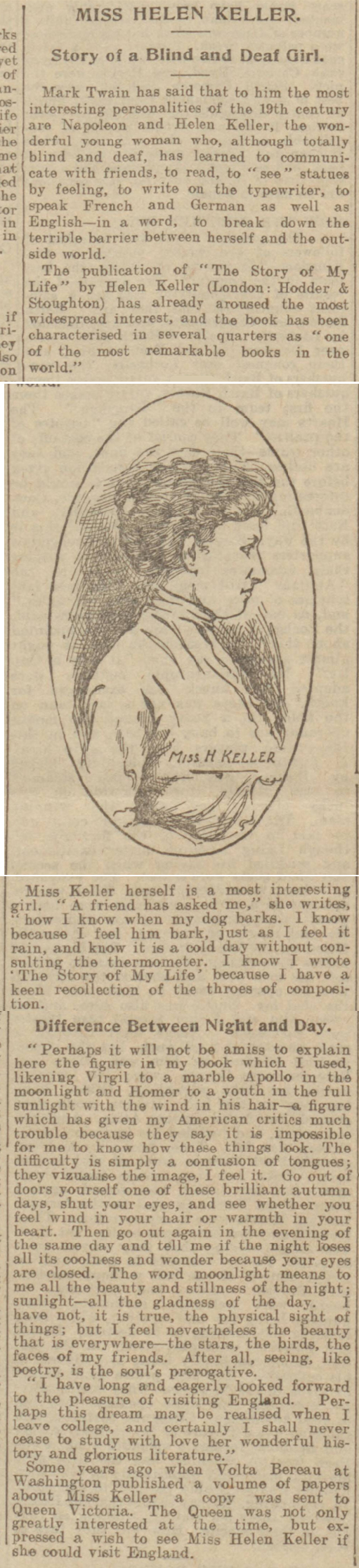 historical newspaper report about helen keller
