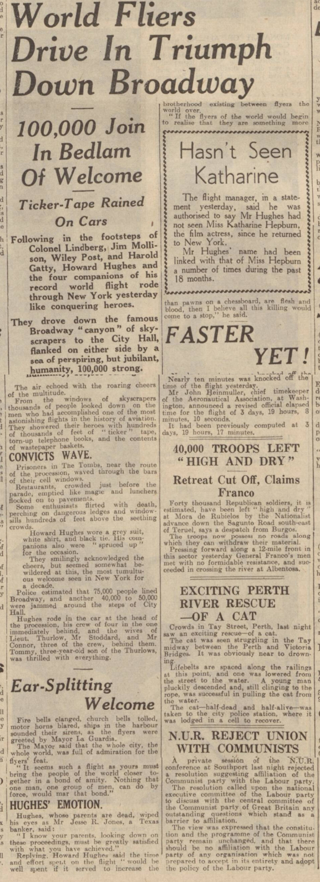 historical newspaper reports on howard hughes