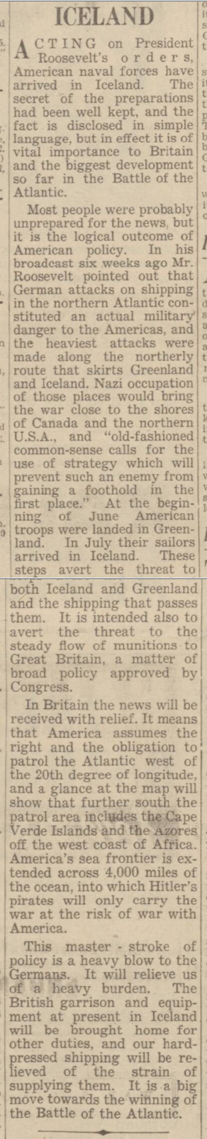 historical newspaper report about the us occupation of iceland in 1941