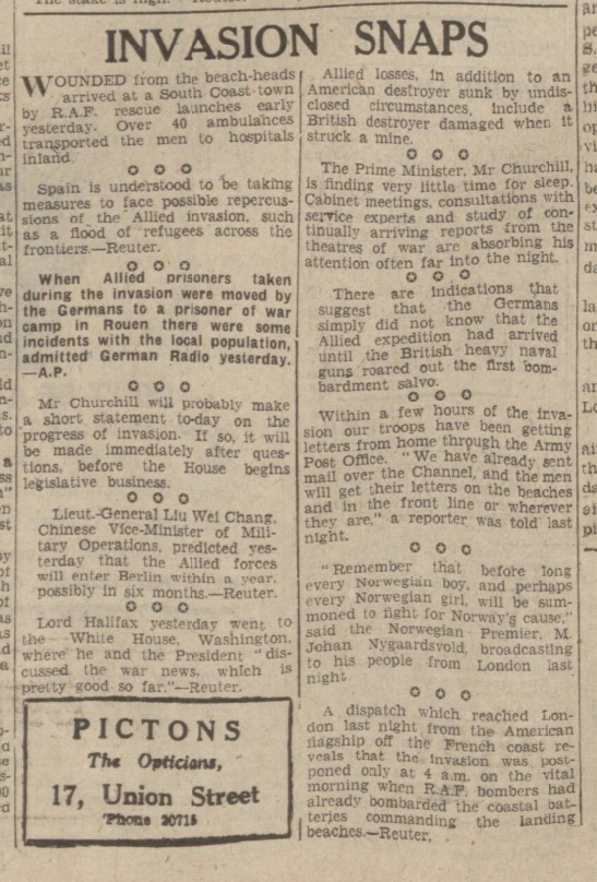 historical newspaper report about d-day