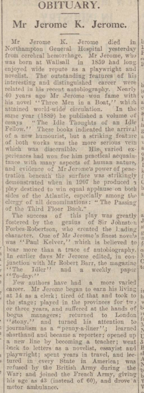 historical newspaper report about the death of jerome k jerome