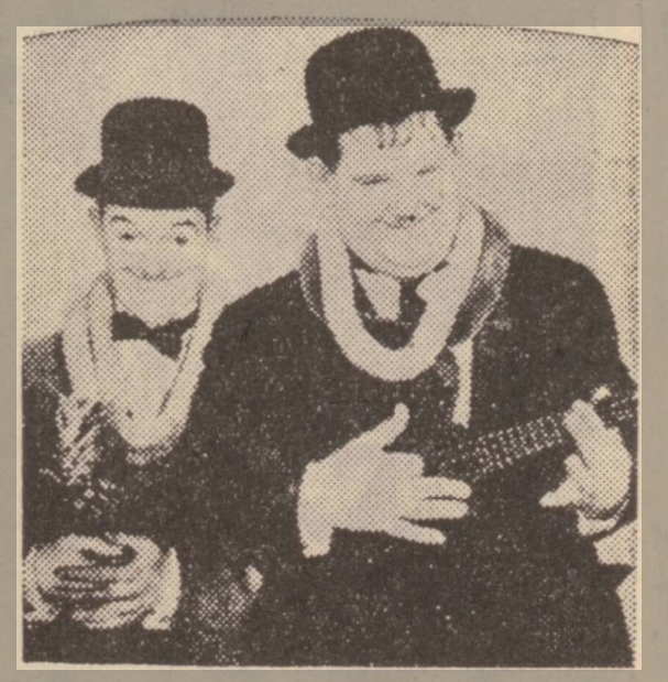 historical newspaper report about laurel and hardy