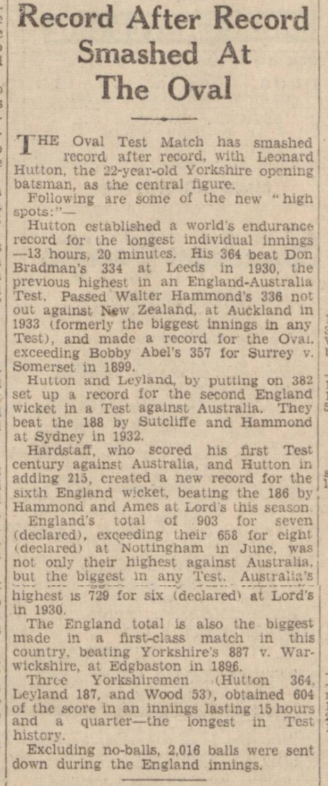 historical newspaper report about len hutton