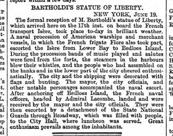 historical newspaper report about The Arrival of the Statue of Liberty in New York