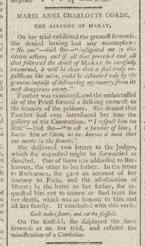 historical newspaper reports on The Assassination of Jean-Paul Marat