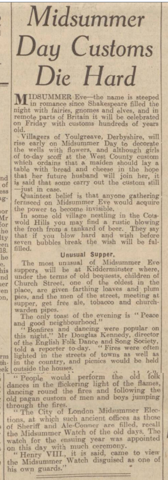 historical newspaper report about stonehenge and midsummer day and night