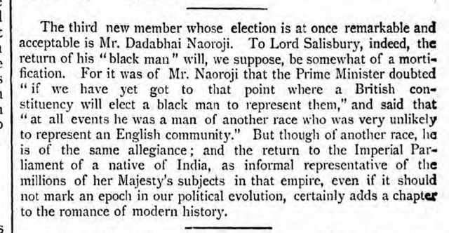 historical newspaper report about The Election of Dadabhai Naoroji