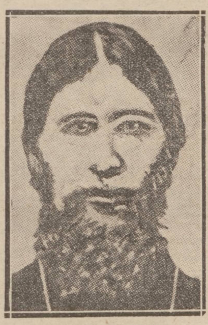 Image of Rasputin in an old newspaper report