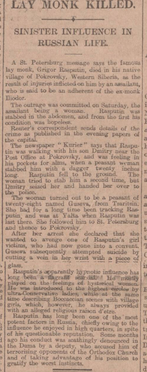 Historical newspaper report about Rasputin