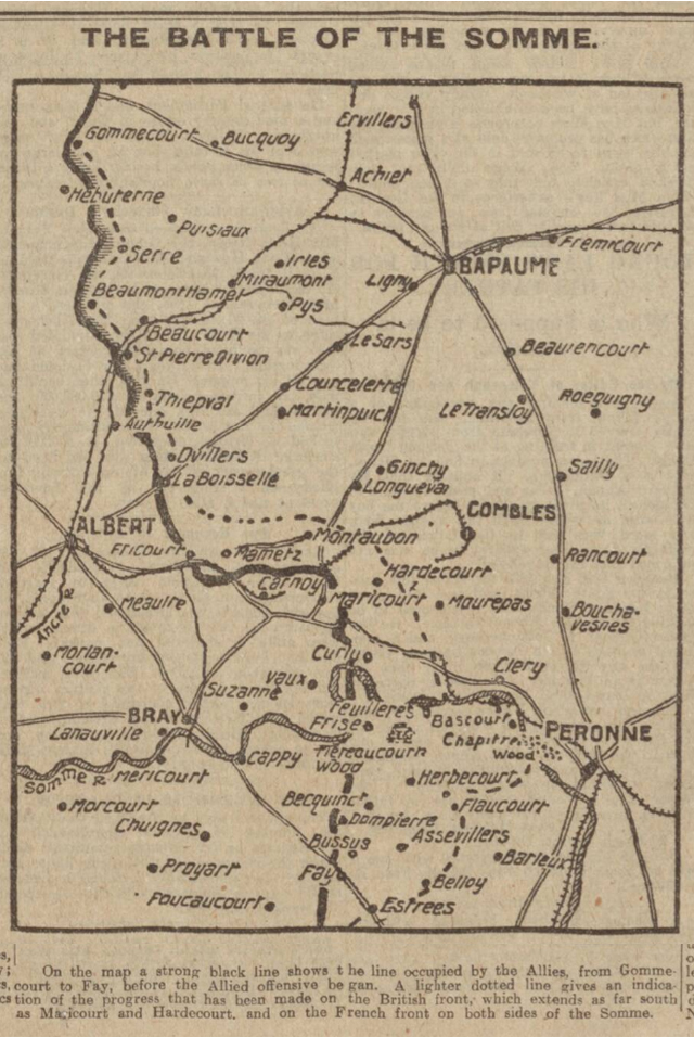 historical newspaper report about The start of the battle of the somme