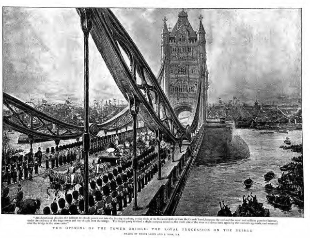 historical newspaper report about the opening of tower bridge in london