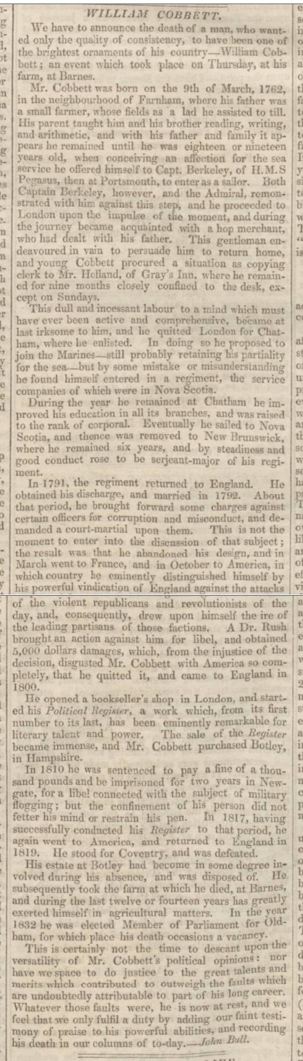 historical newspaper report about william cobbett