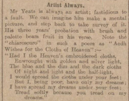 historical newspaper report about WB Yeats