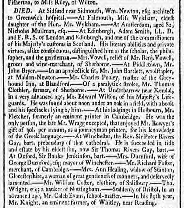 historical newspaper reports about the death of adam smith