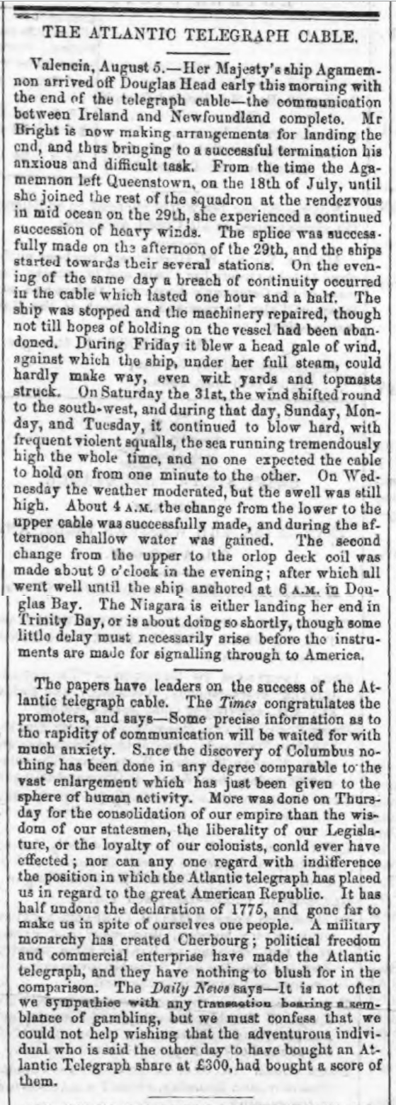 historical newspaper report about The Completion of the Laying of the Transatlantic Telegraph Cable