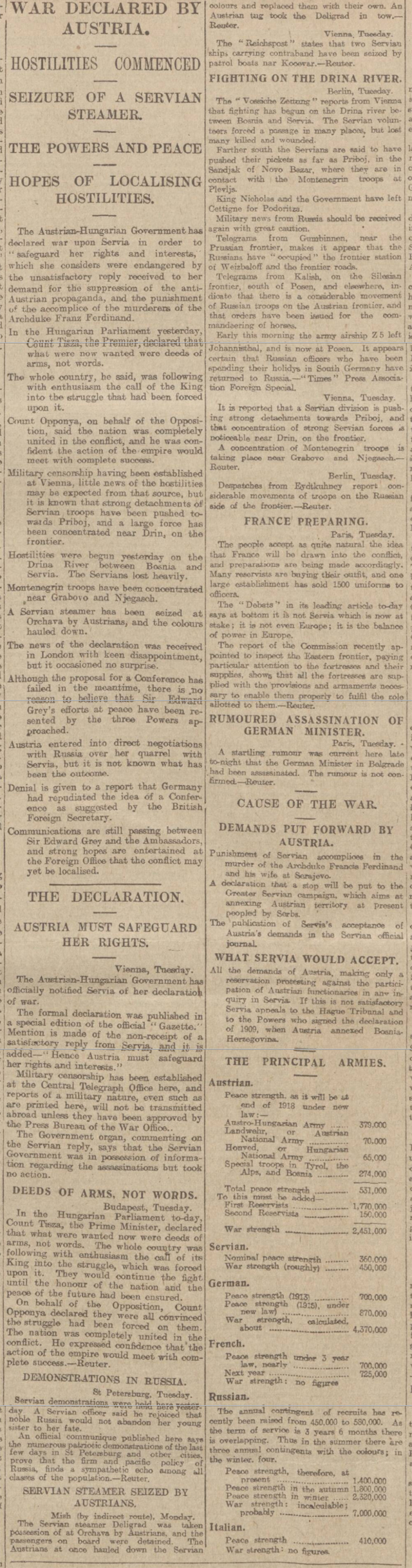 historical newspaper report about Austria-Hungary Declares War on Serbia - 28 July 1914