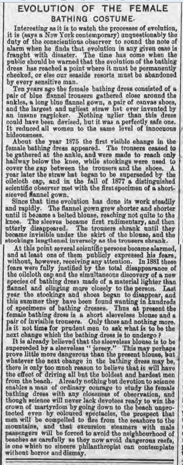 historical newspaper report about The Evolution of the Female Bathing Costume - as Reported in 1883