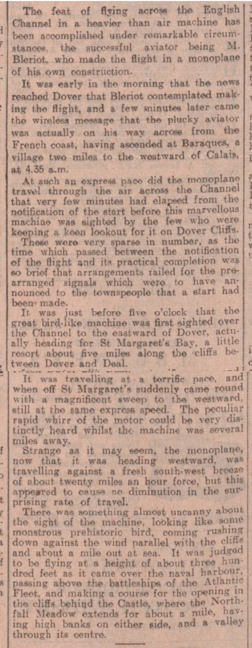historical newspaper report about Louis Bleriot Becomes the First Man to Fly Across the English Channel in an Airplane