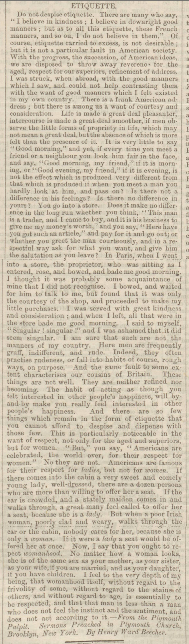 historical newspaper story about victorian  etiquette