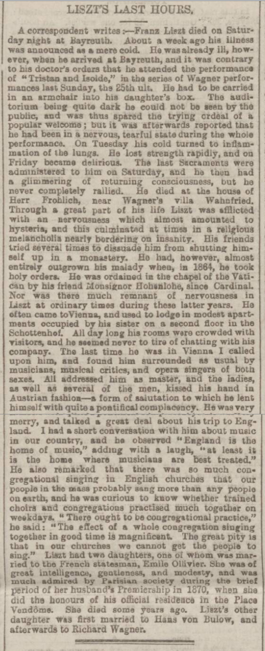 historical newspaper report about The Death of Franz Liszt - 31 July 1886
