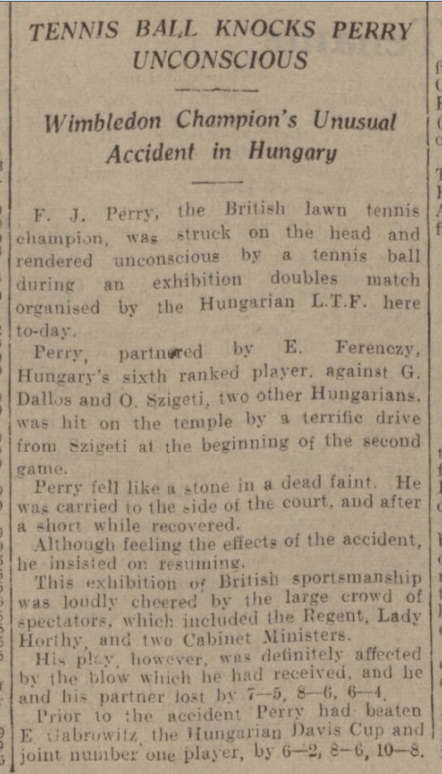historical newspaper report about Fred Perry Knocked Unconscious by a Tennis Ball
