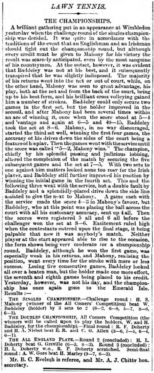 historical newspaper report about Harold Mahony - the last Scot to win a Wimbledon title, July 1896