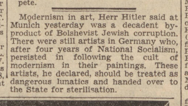 historical newspaper reports on Adolf Hitler's Thoughts on Art