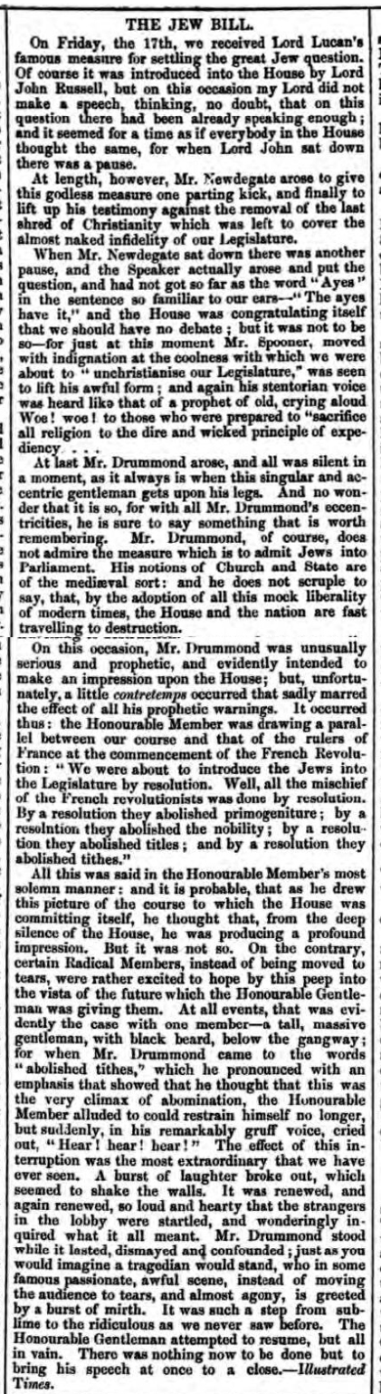 historical newspaper report about the The UK Parliament Passes the Jews Relief Act 1858