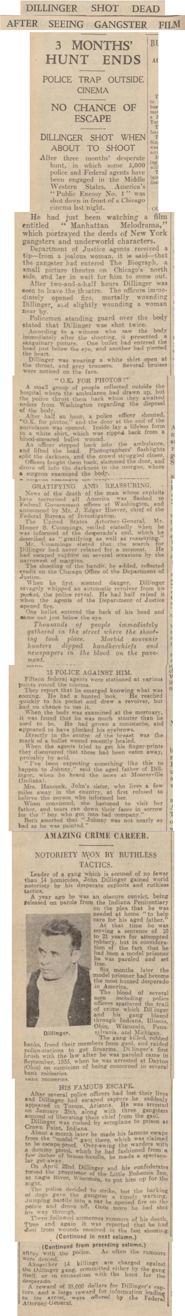 historical newspaper report about The Shooting of John Dillinger