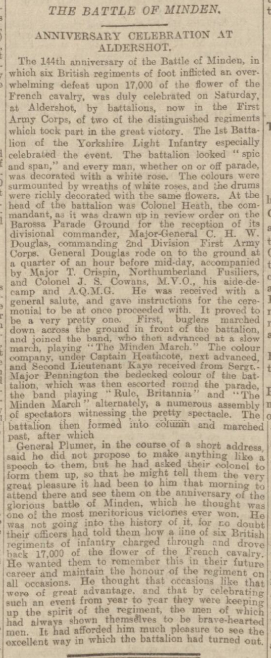 historical newspaper reports on the Battle of Minden