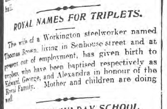 historical newspaper report about Choosing a Name for a Baby