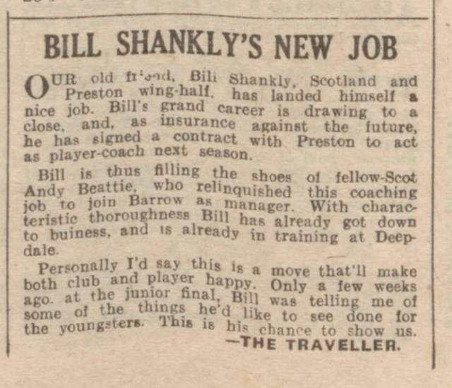 historical newspaper report about bill shankly