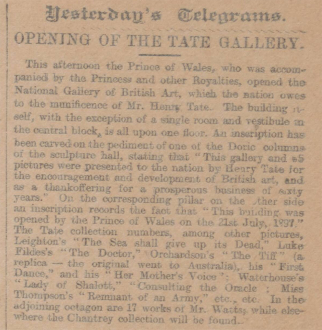 historical newspaper report  about The opening of the tate gallery