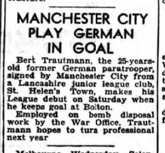 historical newspaper reports on Bert Trautmann